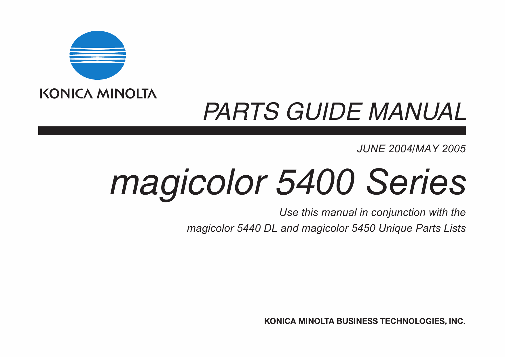 Konica-Minolta magicolor 5440DL 5450 Parts Manual